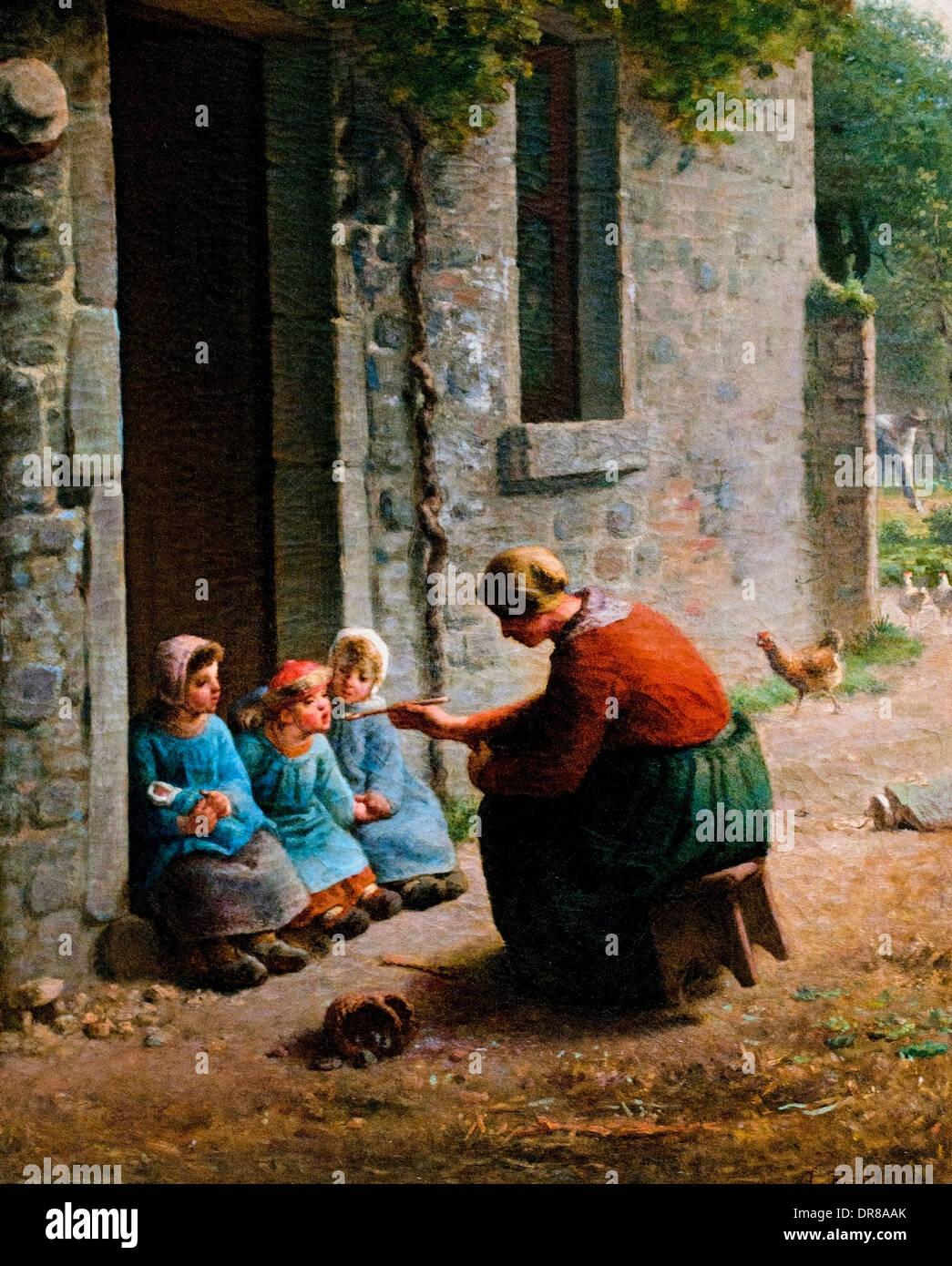 La becquée par Jean François Millet. Français France 1814-1875 Photo Stock