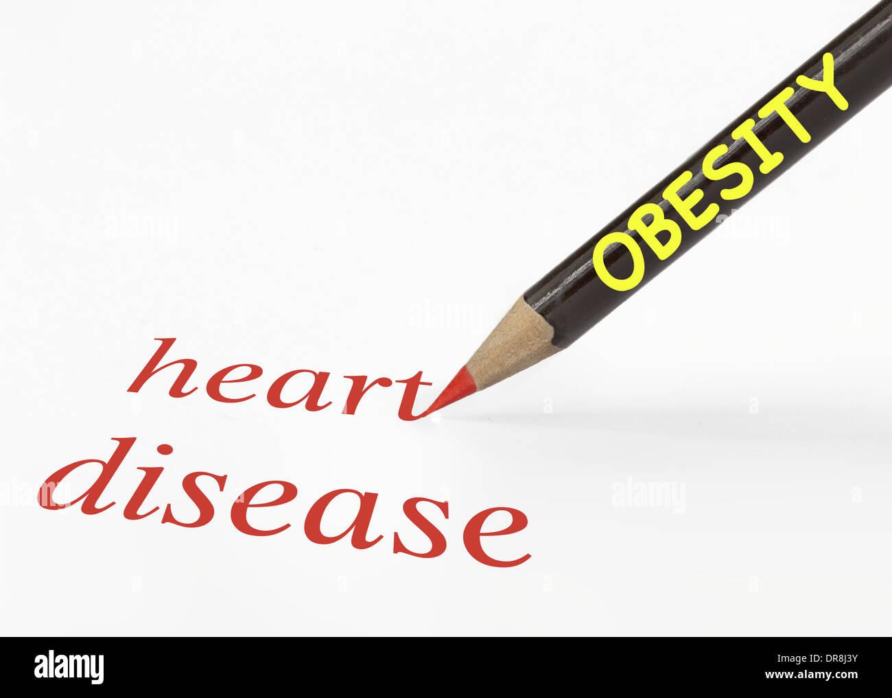 Idée de l'obésité conduit à une maladie cardiaque à l'aide d'une analogie Photo Stock