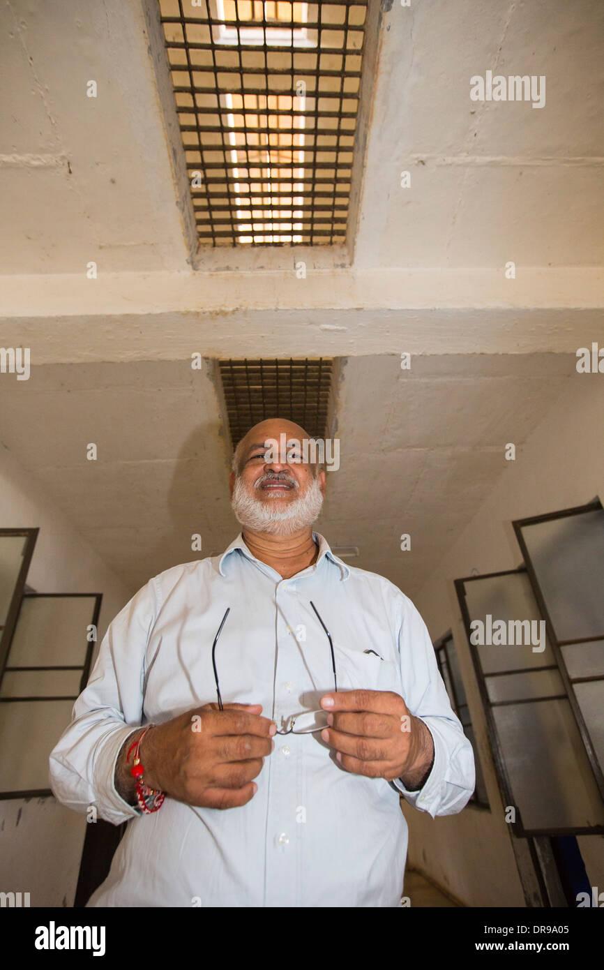 Climatisation passive à l'Ashram de Seva Muni Goraj, près de Vadodara, Inde. Photo Stock