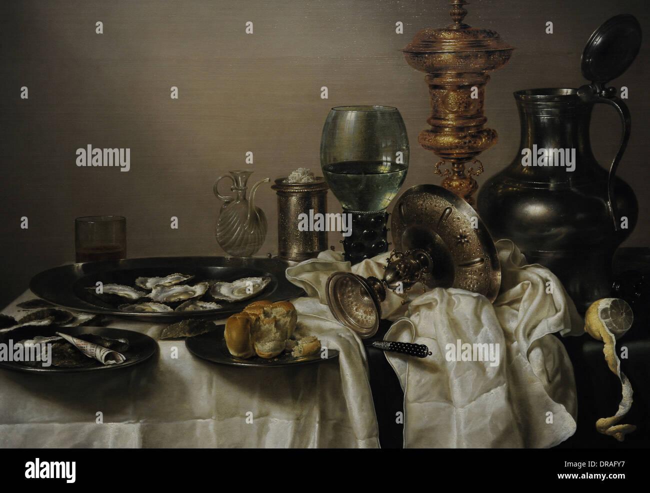 Willem Claesz Heda (1594-1680). Peintre hollandais. Nature morte avec une tasse Doré, 1635. Détail. Rijksmuseum. Amsterdam. La Hollande. Photo Stock