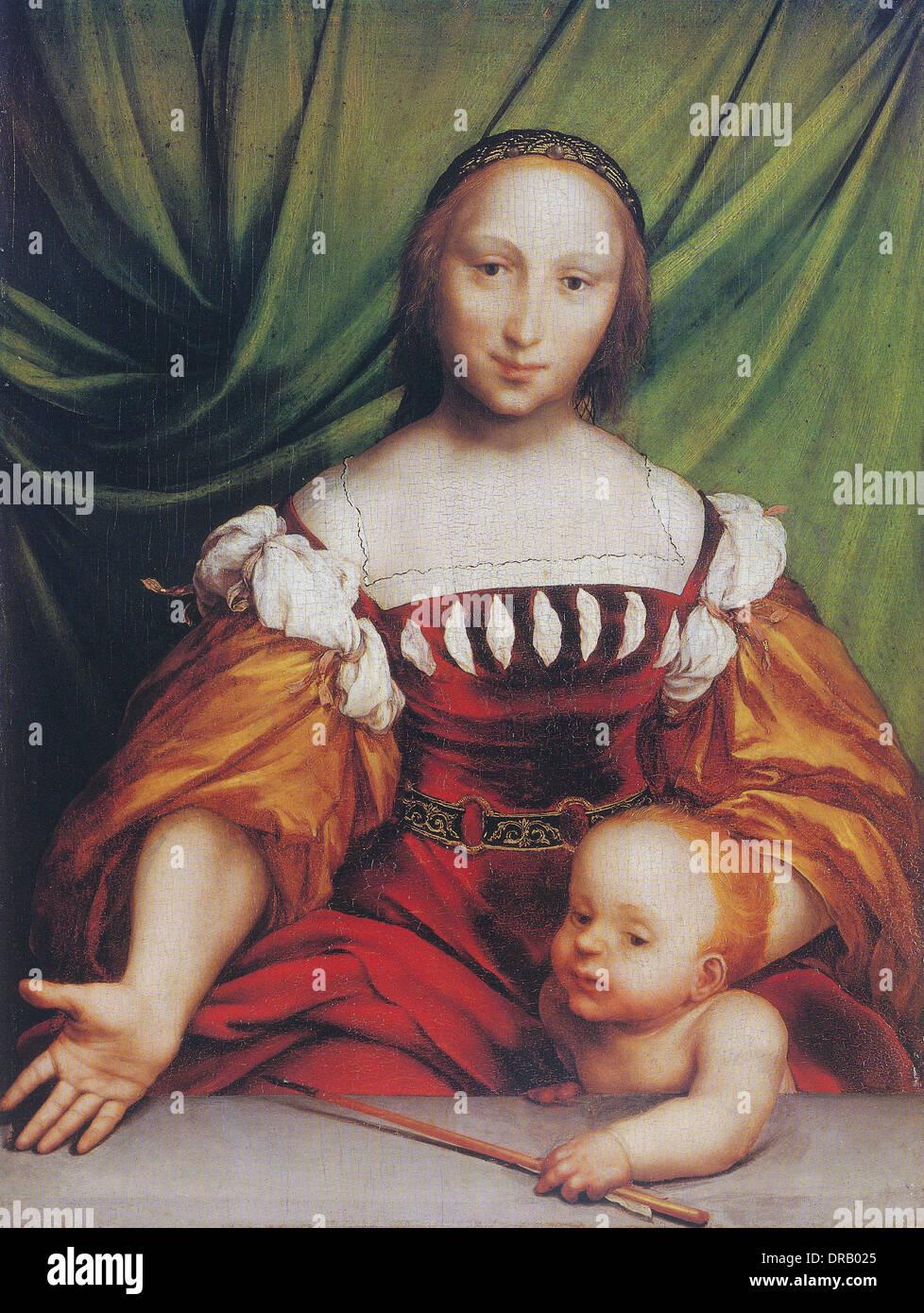 Vénus, la déesse romaine de l'amour, à l'Amor (CUPID) serrant Love's Arrow par Hans Holbein le Jeune Photo Stock