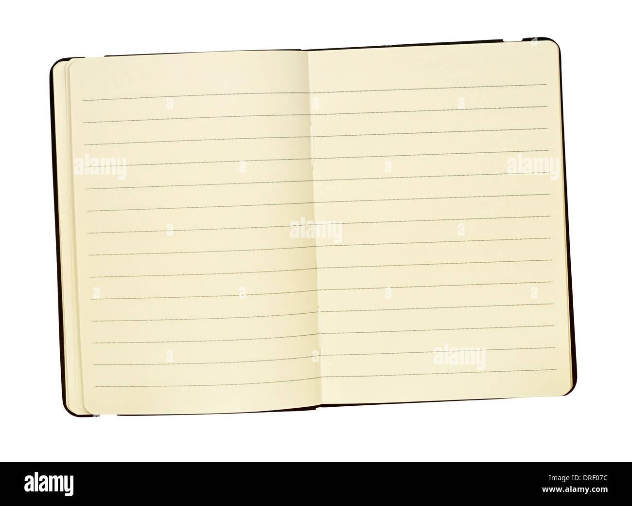 Un format de poche relié en cuir à un journal pour garder une trace écrite de la main des souvenirs, super pour les mises en page du magazine. Photo Stock