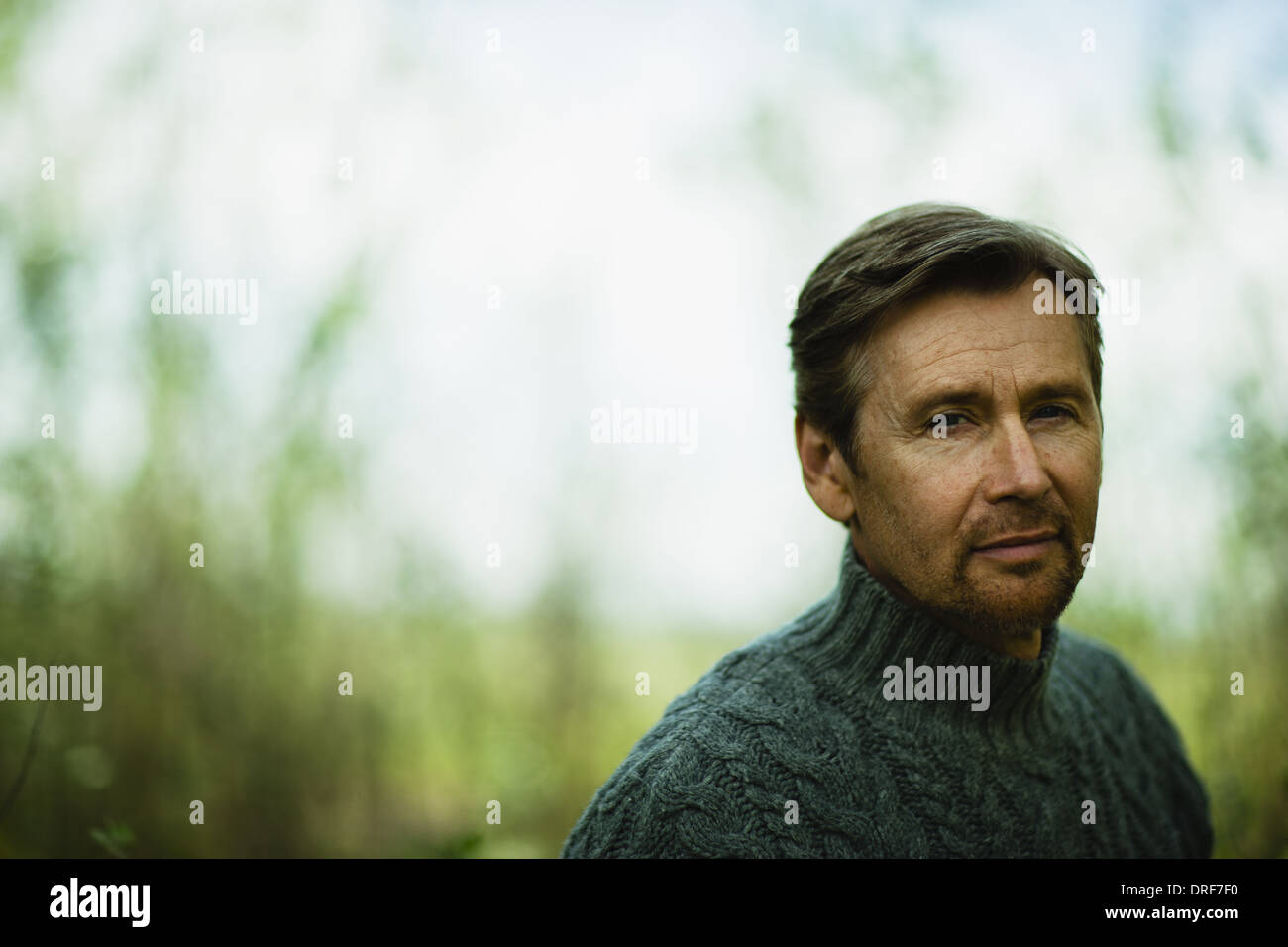 Colorado USA middle-aged man looking pensive Photo Stock