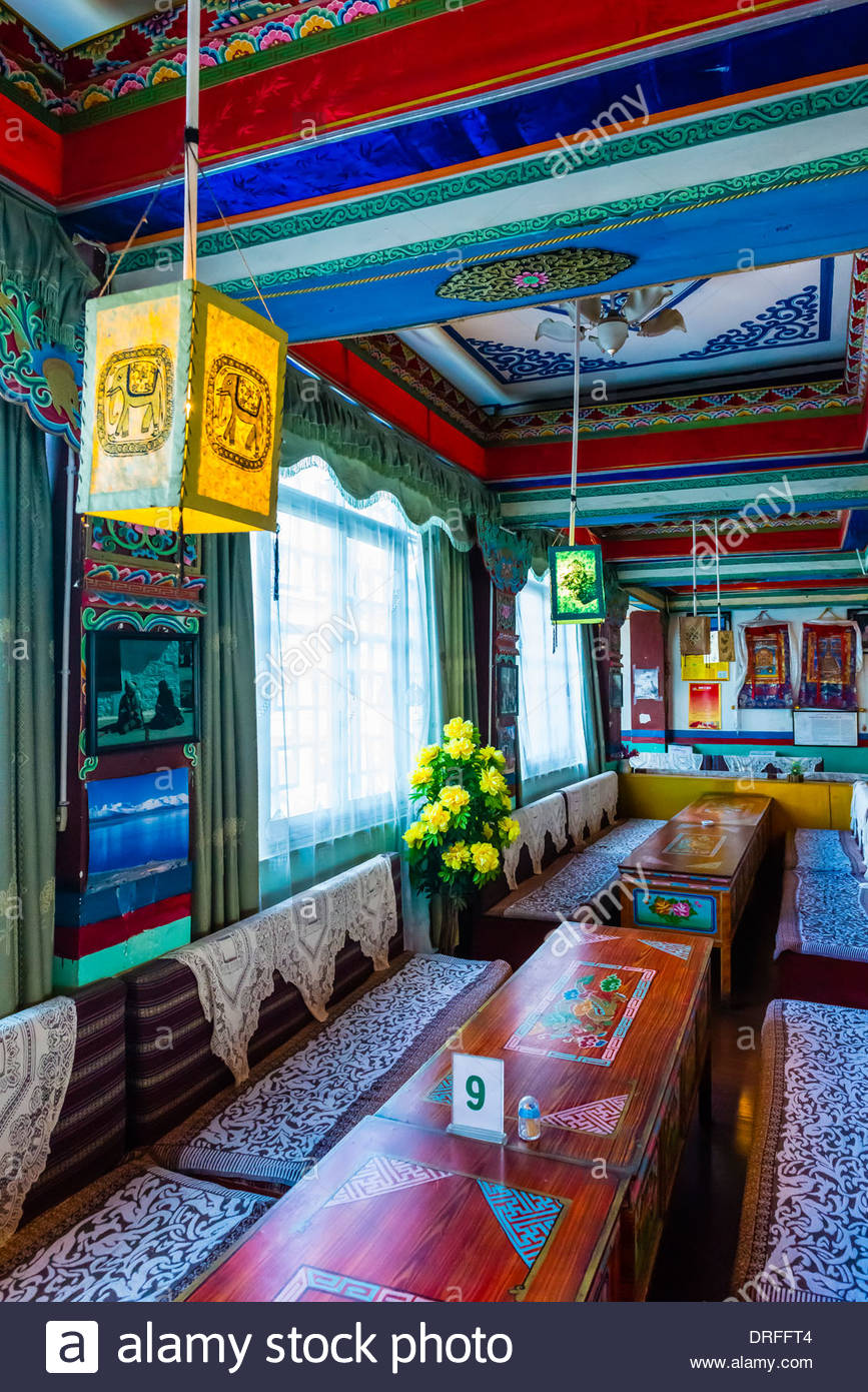 Restaurant Tashi, Tsedang, Xizang (Tibet), la Chine. Photo Stock