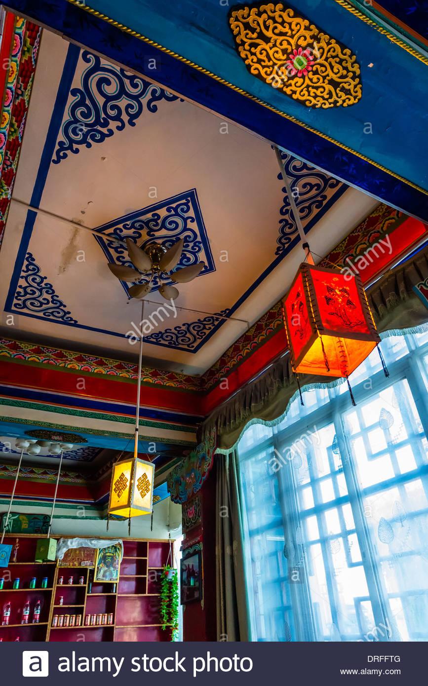 Restaurant Tashi, Tsedang, Xizang (Tibet), la Chine. Photo Stock