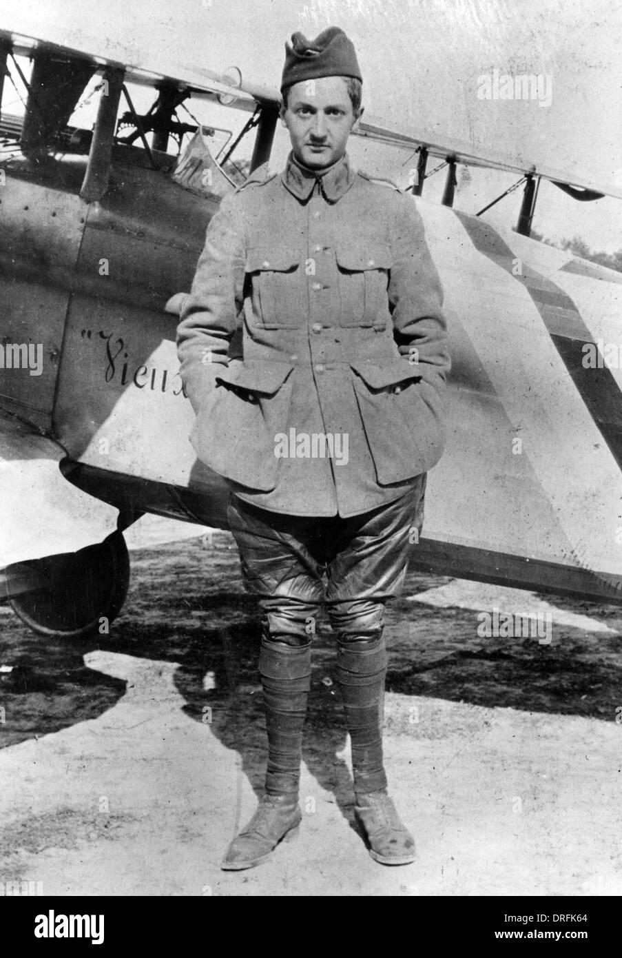Le Lieutenant Guynemer, aviateur militaire français, WW1 Banque D'Images
