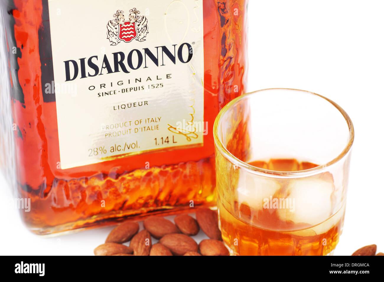 CANADA, QUÉBEC, JANVIER, 6, 2014: liqueur d'Amaretto Disaronno est un alcool aromatisé aux amandes importées d'Italie. Banque D'Images