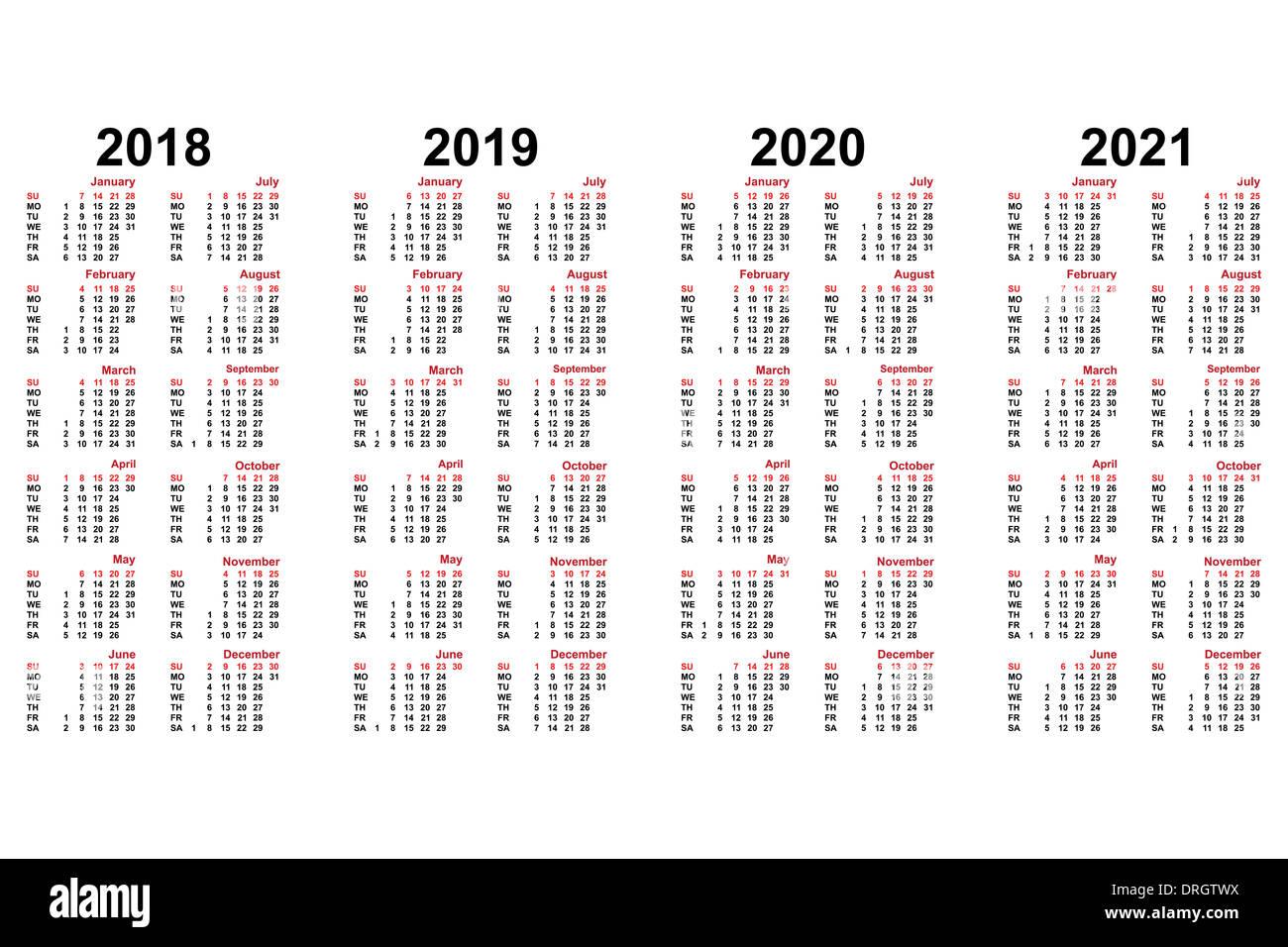Calendrier 2018:2021 Calendrier pour 2018 à 2021 ans Photo Stock   Alamy