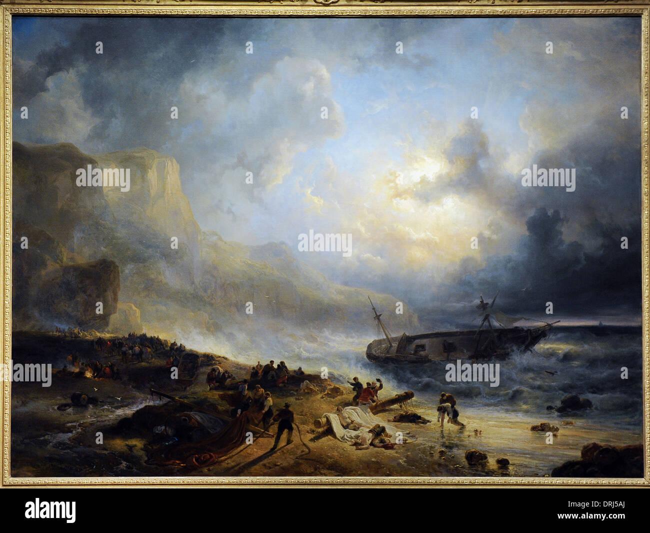 Wijnand Nuijen (1813-1839). Peintre hollandais. Naufrage au large d'une côte rocheuse, c.1837. Rijksmuseum. Amsterdam. La Hollande. Photo Stock