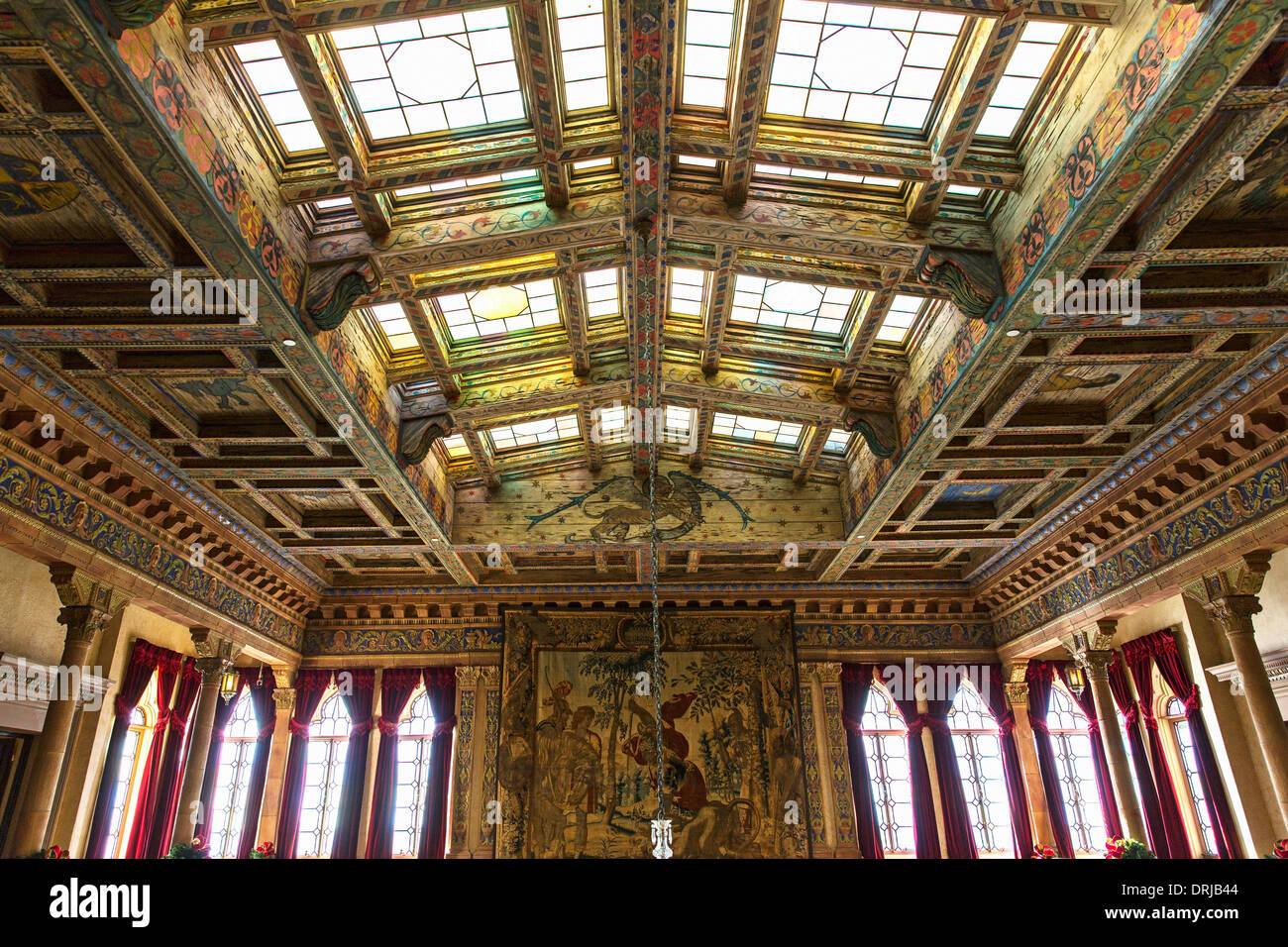 USA,Floride,Sarasota, le John et Mable Ringling Museum of Art, détail de plafond dans la pièce principale, l'architecture vénitienne Photo Stock