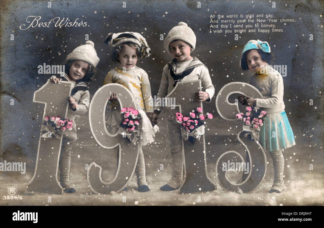 Une meilleurs voeux à l'occasion de la nouvelle année Carte Postale. Photo Stock