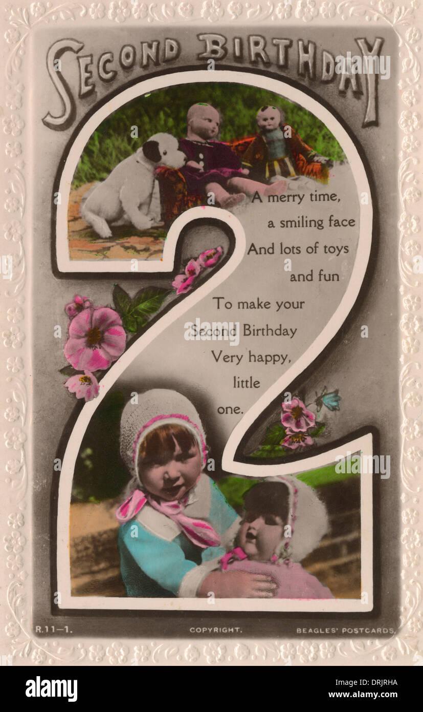 Un heureux anniversaire deuxième carte postale. Photo Stock