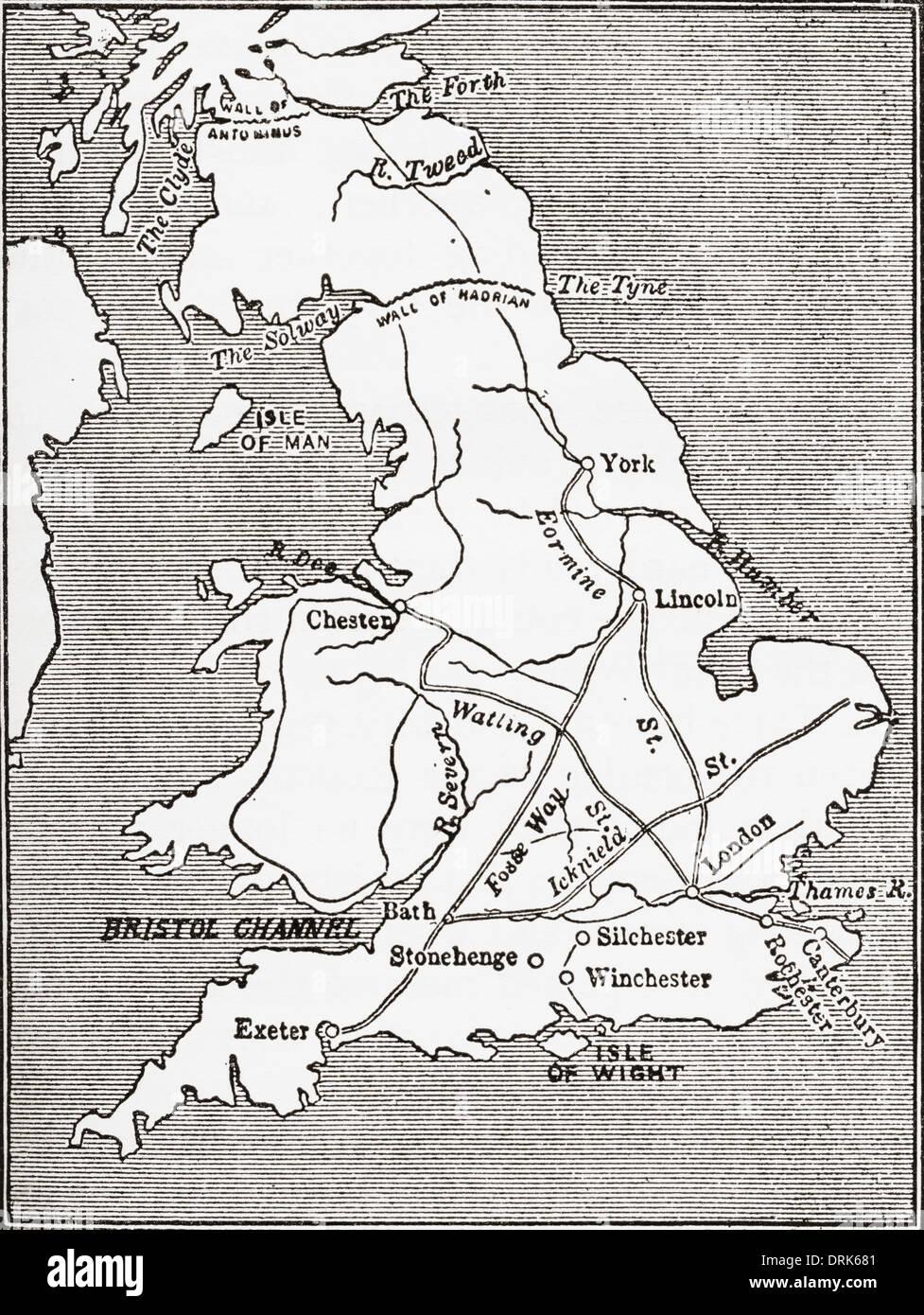 Carte montrant les routes romaines en Grande-Bretagne. Photo Stock