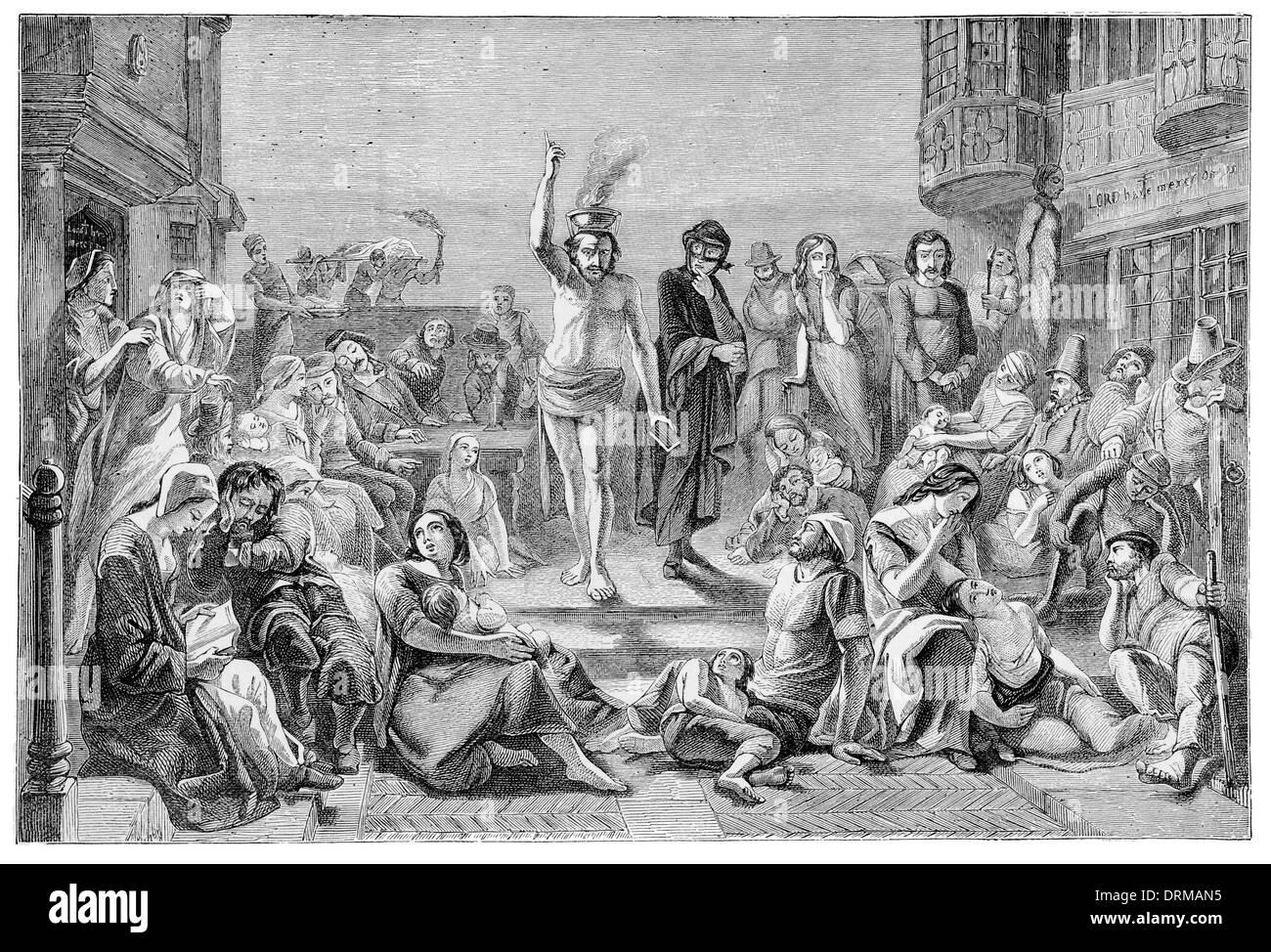 La grande Peste. Londres. Solomon Eagle à exhorter les gens à la repentance 1665 Banque D'Images