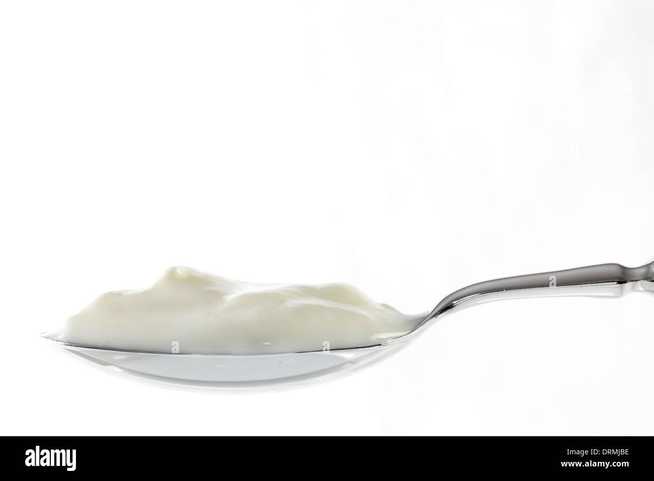 Cuillère pleine de yaourt Photo Stock