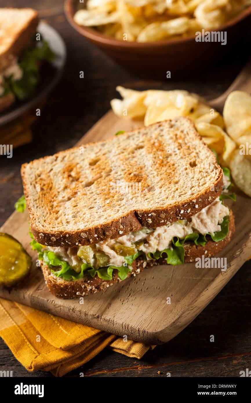 Sandwich au thon en bonne santé avec de la laitue et un côté de plaquettes Photo Stock