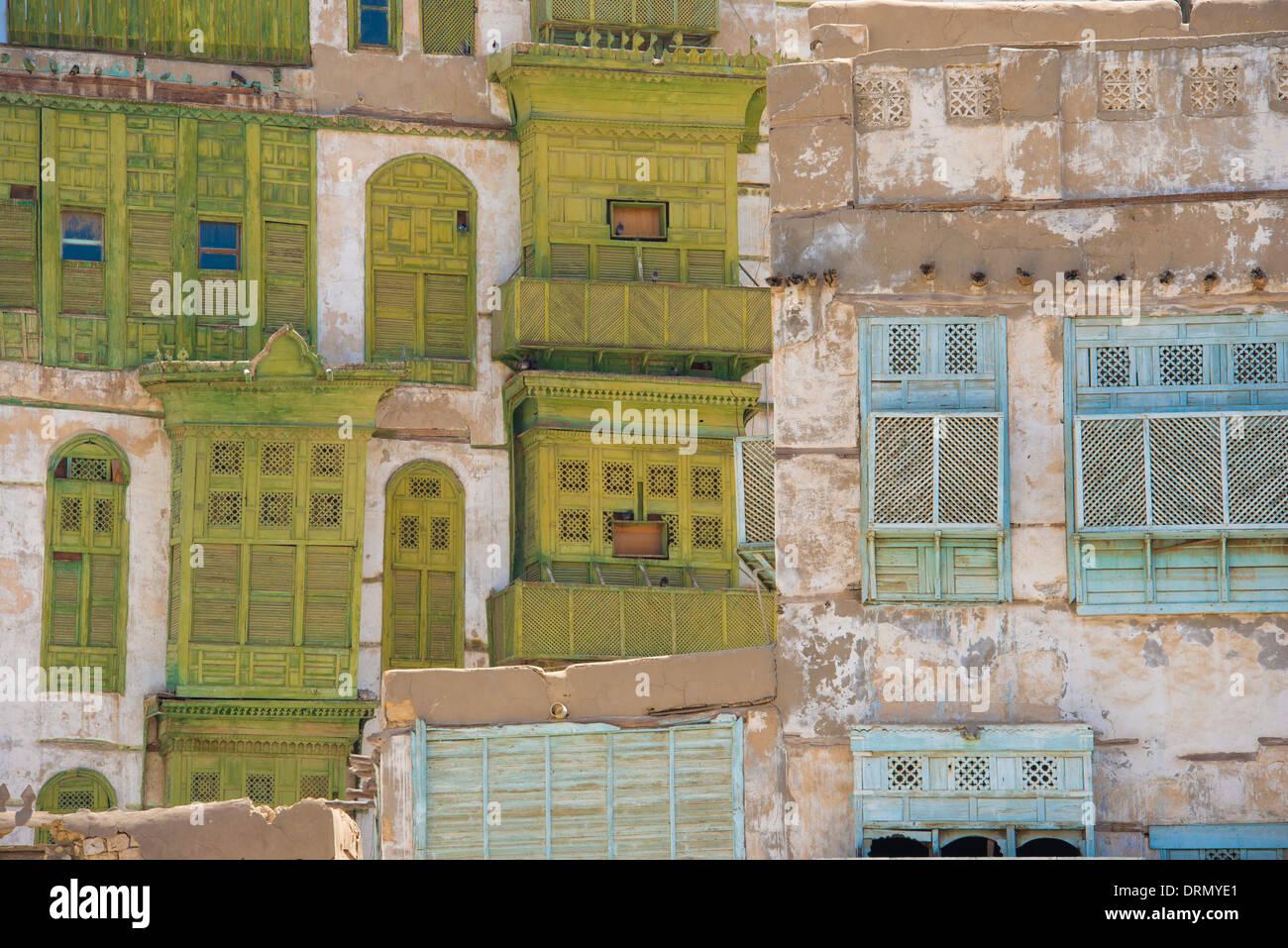Détail des bâtiments en Al-Balad (vieille ville) Jeddah, Arabie saoudite Site du patrimoine mondial de l'UNESCO Photo Stock