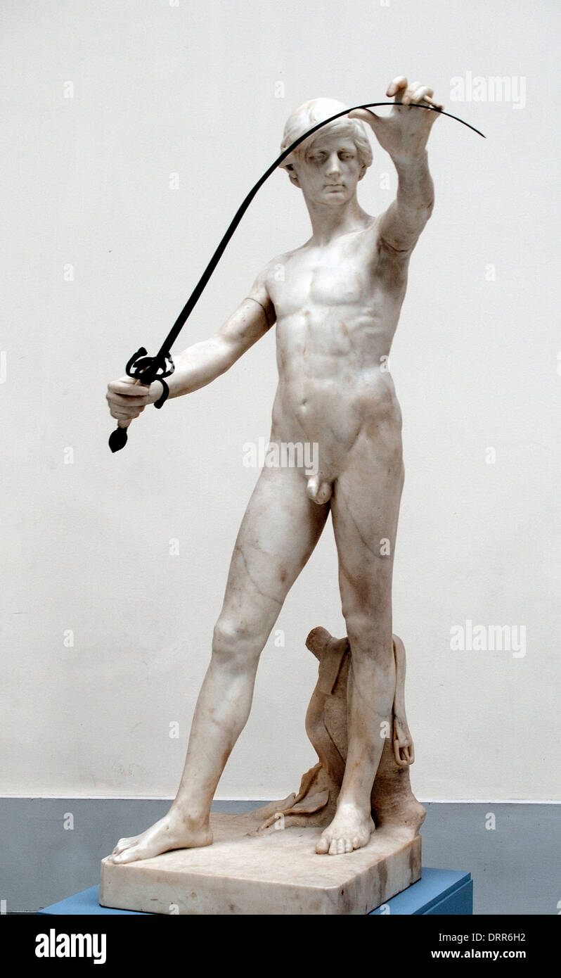 L'homme à l'épée 1876 Charles van der Stappen 1843-1910 Belgique Belge Photo Stock