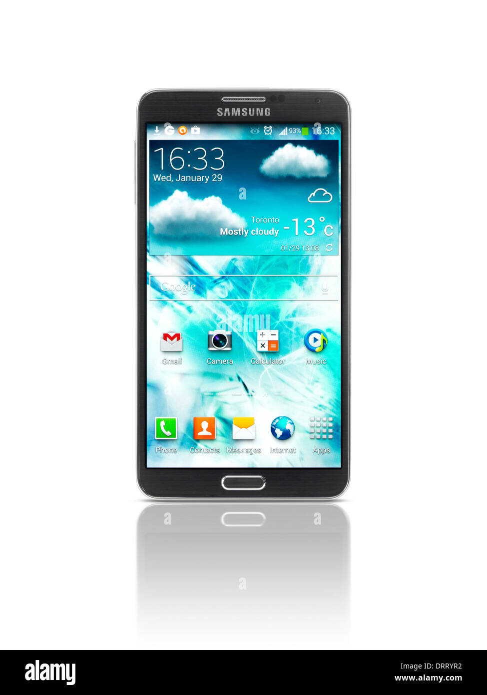 Smartphone Samsung Galaxy Note III isolé photo sur fond blanc avec clipping path Photo Stock