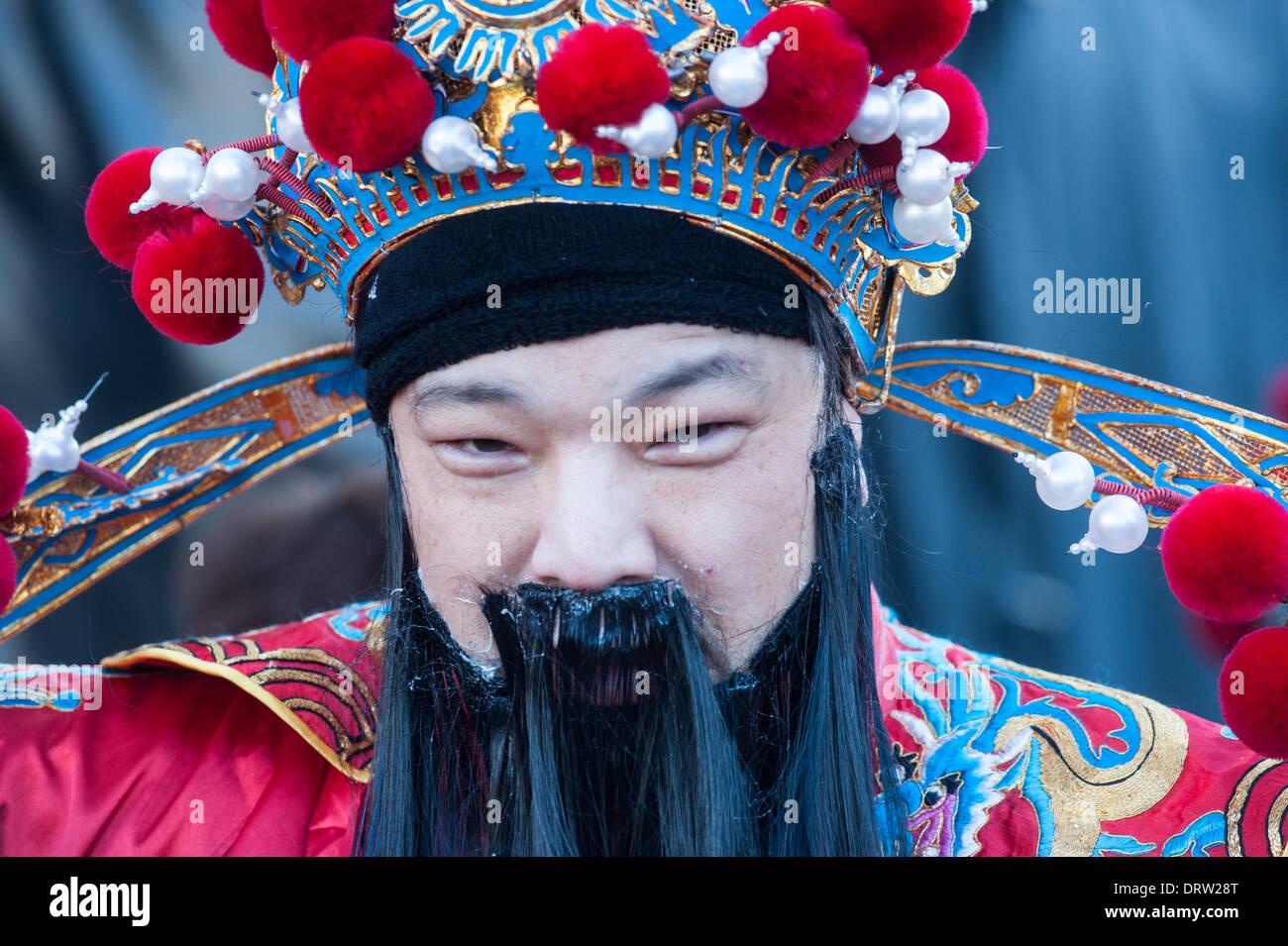 Londres, UK - 2 Février 2014: se préparer à l'assemblée annuelle des fêtards défilé pour célébrer le Nouvel An chinois, avec 2014 étant l'année du cheval. Credit: Piero Cruciatti/Alamy Live News Photo Stock