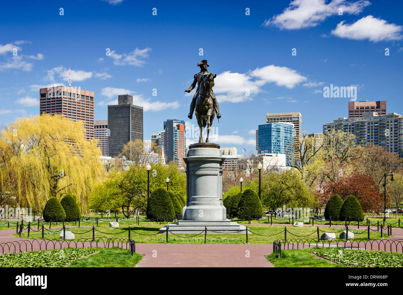 Boston, Massachusetts au jardin public au printemps. Photo Stock