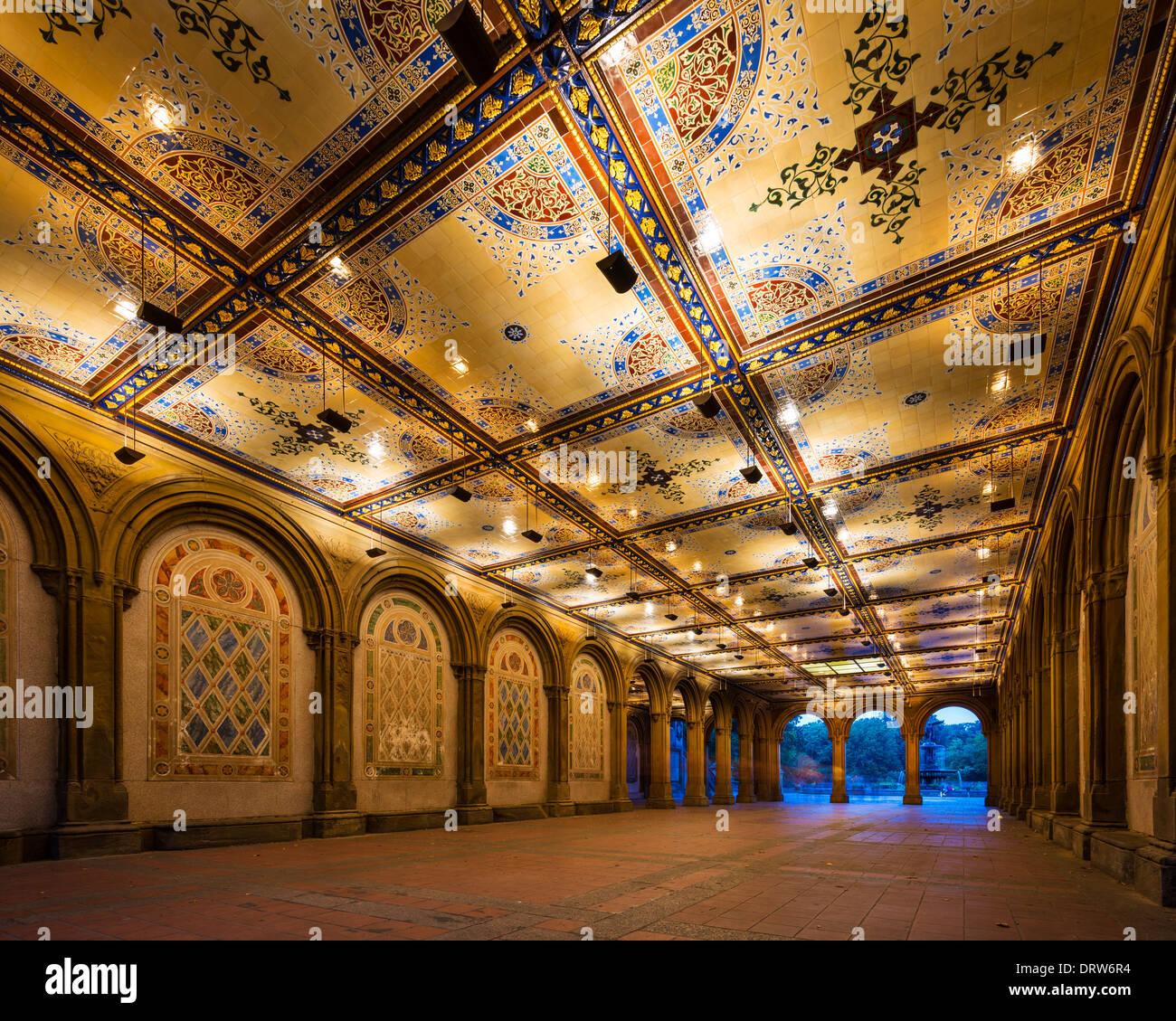 New York City à Bethesda Terrace passage souterrain dans Central Park. Banque D'Images