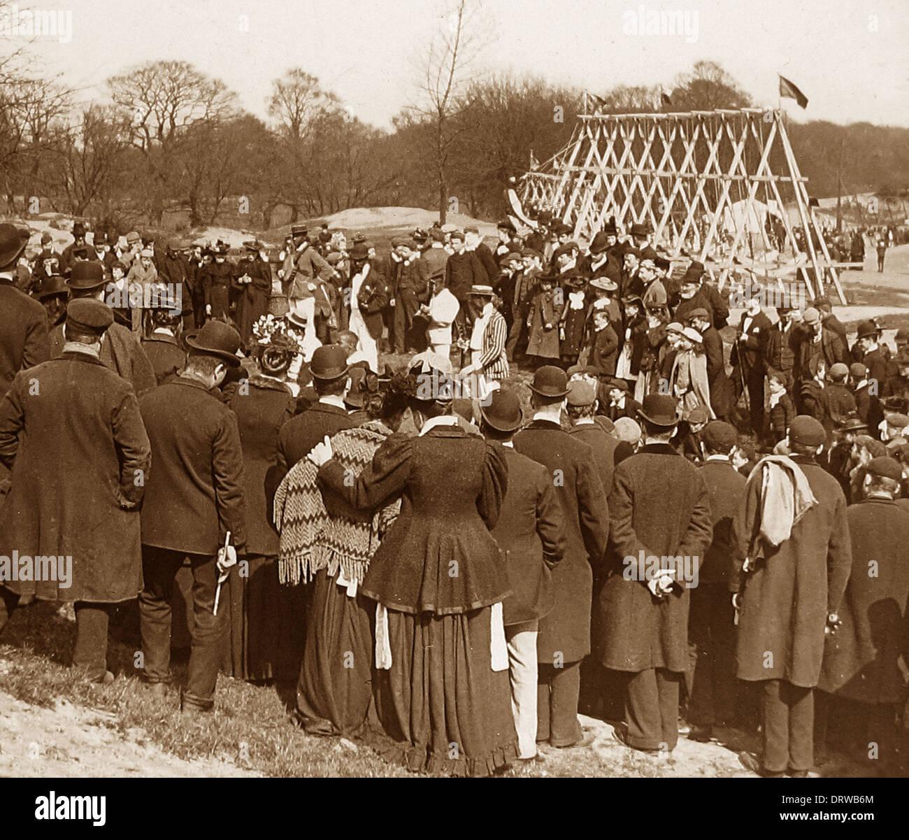 Vacances de divertissement sur Hampstead Heath Londres au début des années 1900 Photo Stock