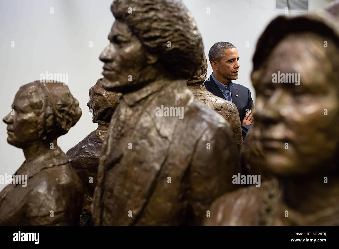 Le président américain Barack Obama visite le parc historique national Women's Rights Centre Visiteurs, 22 août 2013 à Seneca Falls, New York. Photo Stock