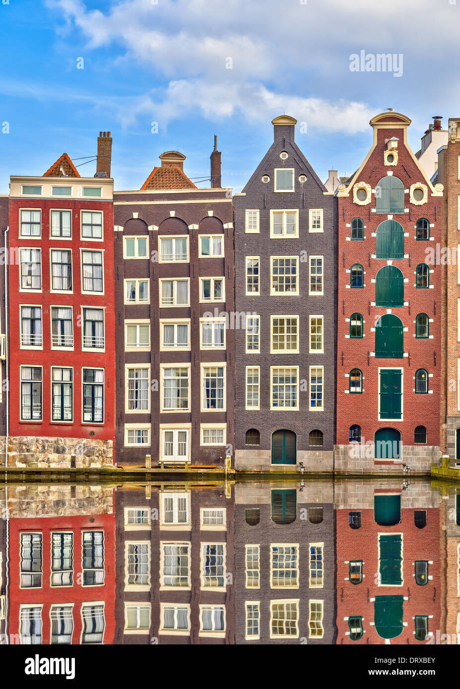 Les bâtiments traditionnels néerlandais, Amsterdam Photo Stock