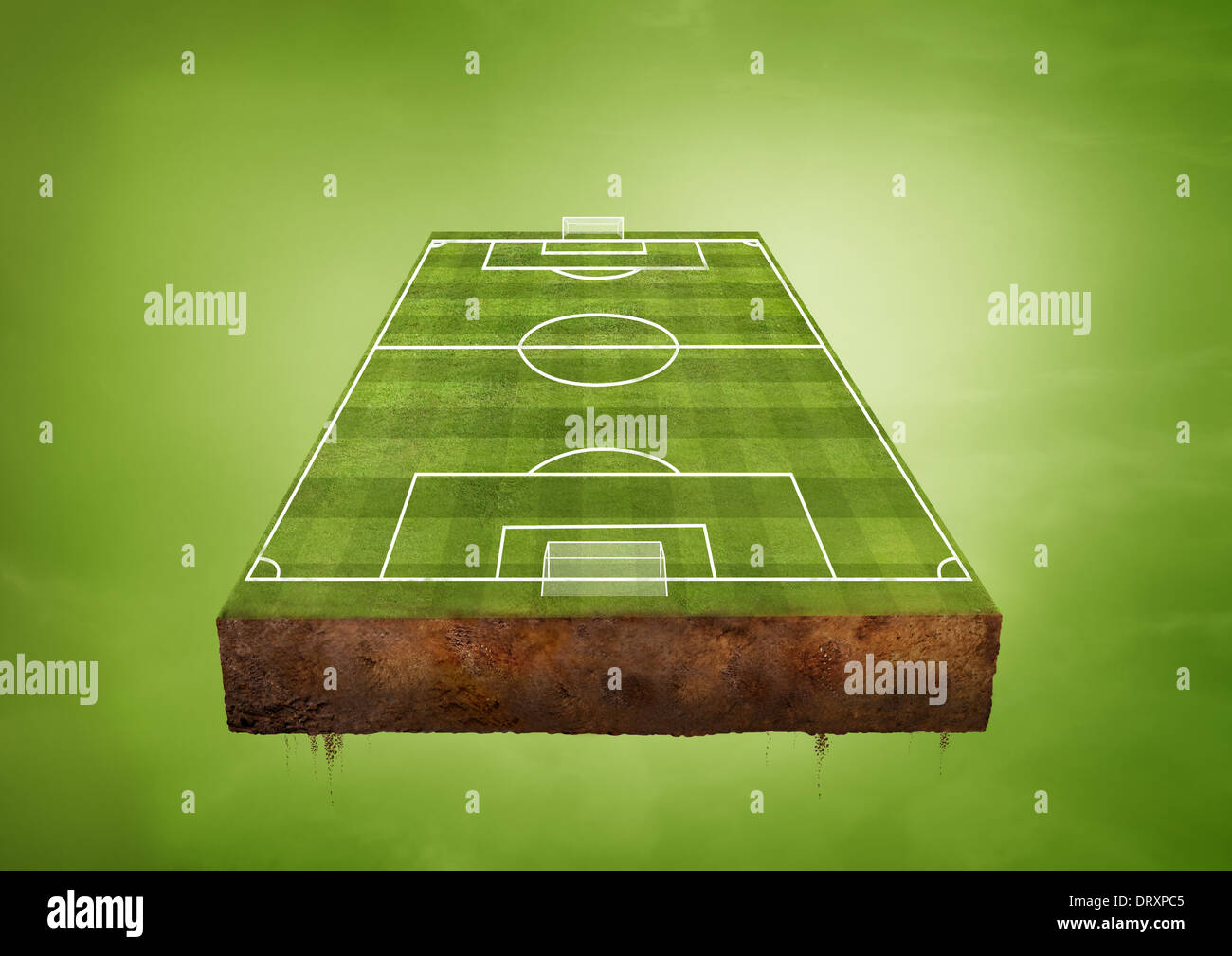 Un terrain de football vert flottant. Concept sportif. Photo Stock