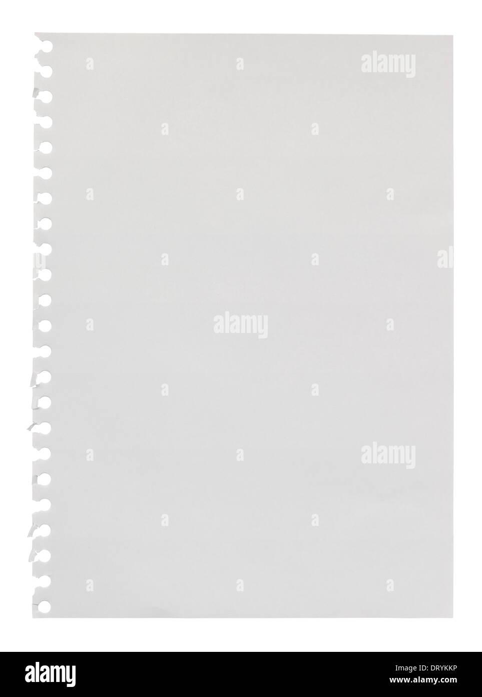 Page blanche arrachée à un anneau relie album pour l'utiliser comme un élément de conception avec l'espace vide de votre propre message personnalisé Photo Stock