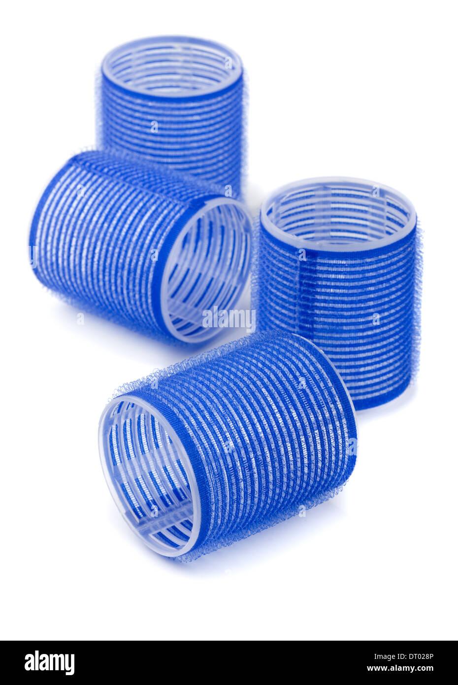 Les bigoudis bleu isolated on white Photo Stock