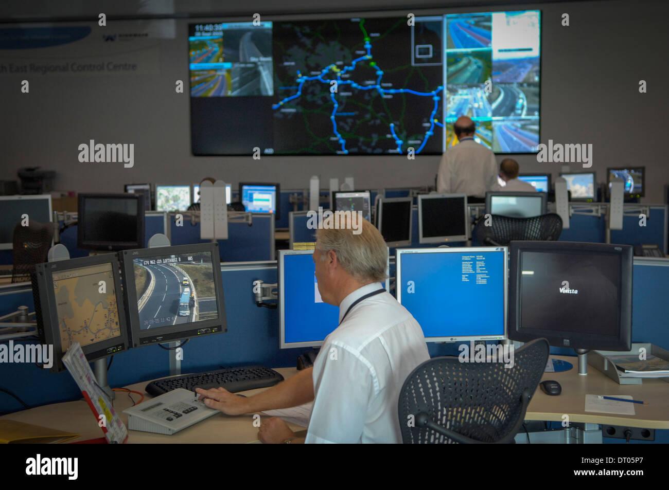 Centre de contrôle régional du nord-est de la Highways Agency,Wakefield,UK Photo Stock