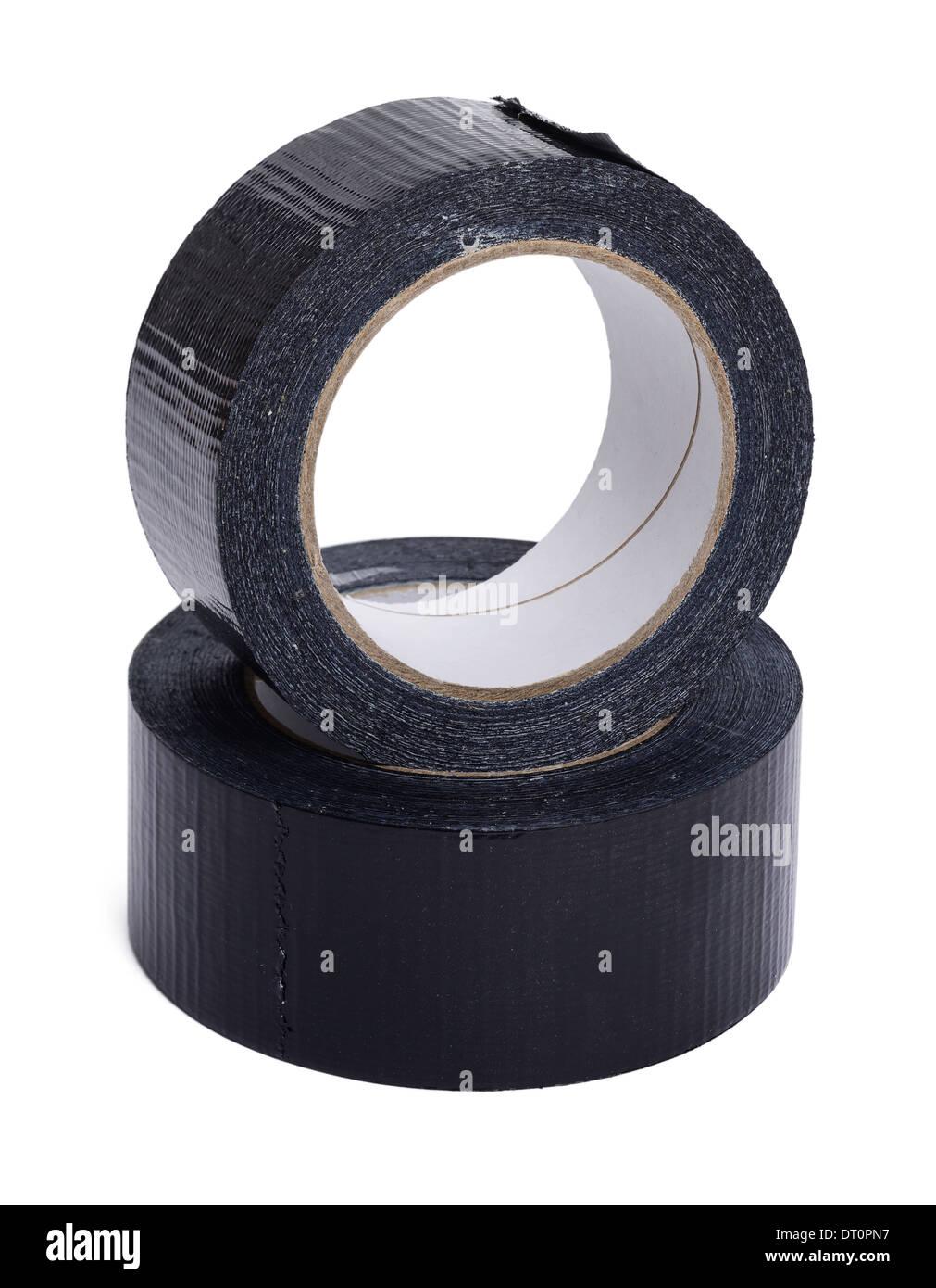 Deux rouleaux de ruban adhésif noir Photo Stock
