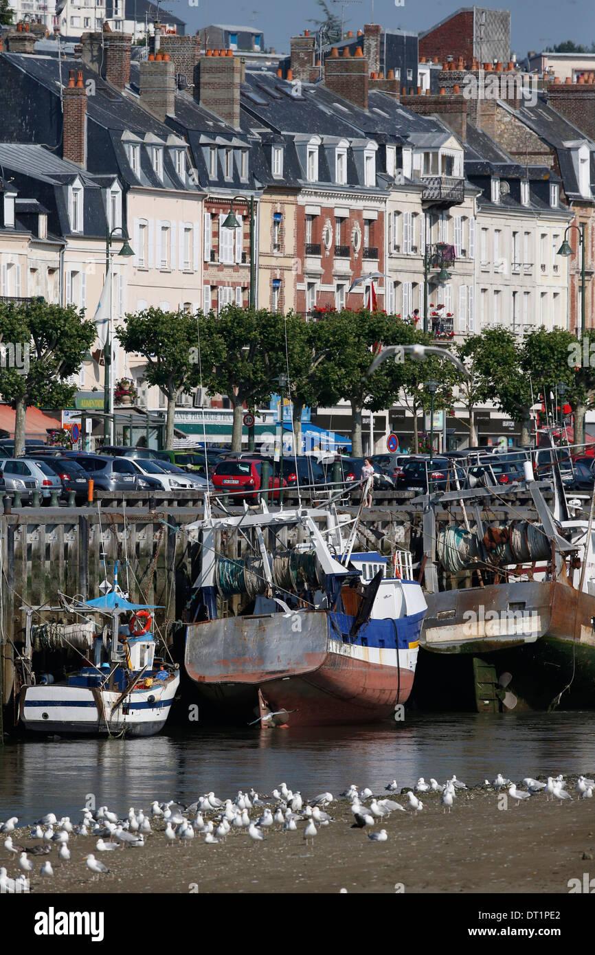Port de pêche de Trouville-sur-Mer, Calvados, Normandie, France, Europe Photo Stock