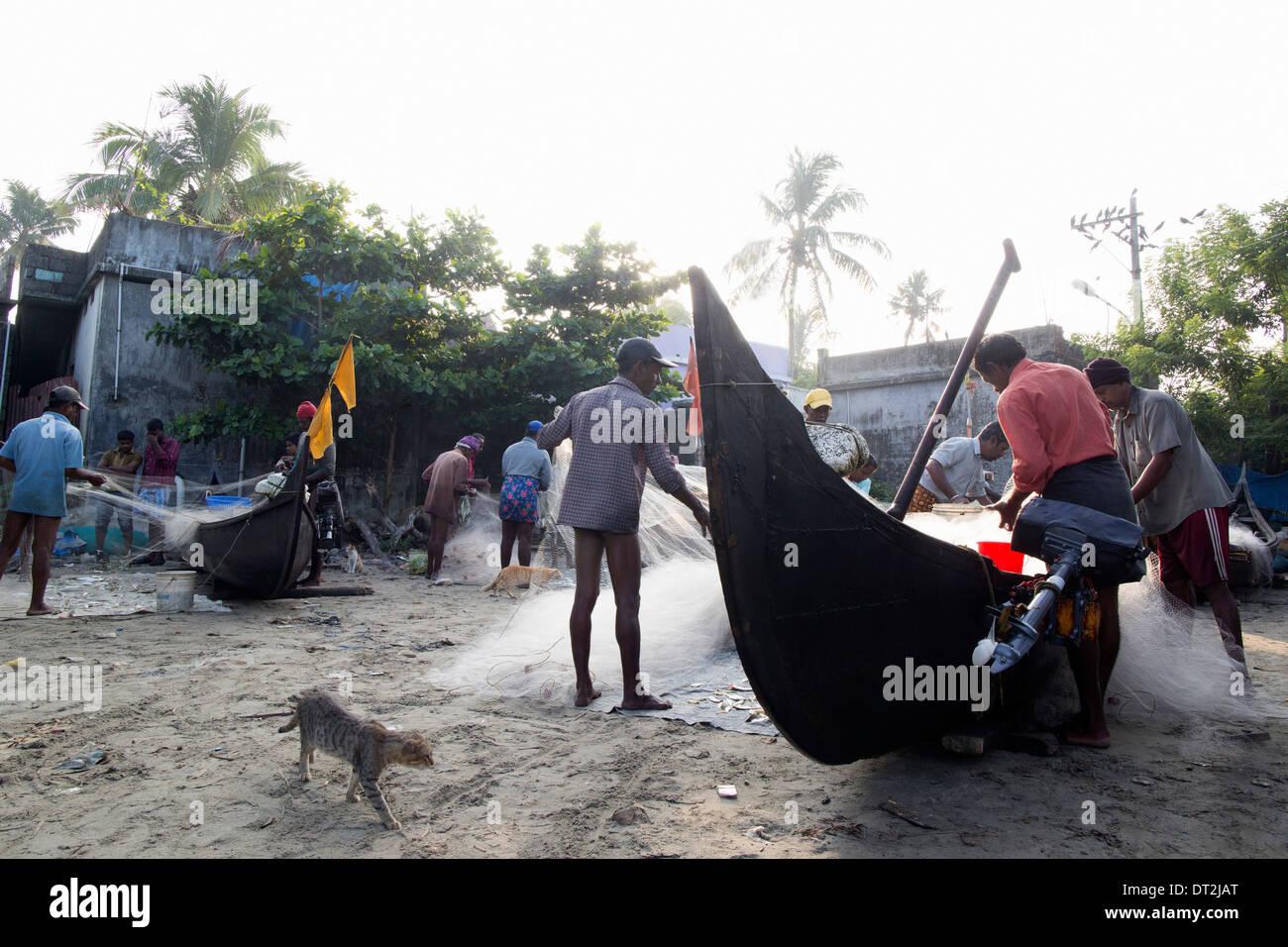 Les pêcheurs indiens Banque D'Images