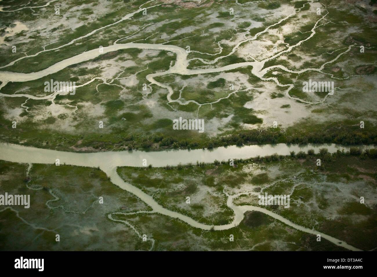 Vue aérienne du delta du fleuve Fraser, Colombie-Britannique, Canada Photo Stock