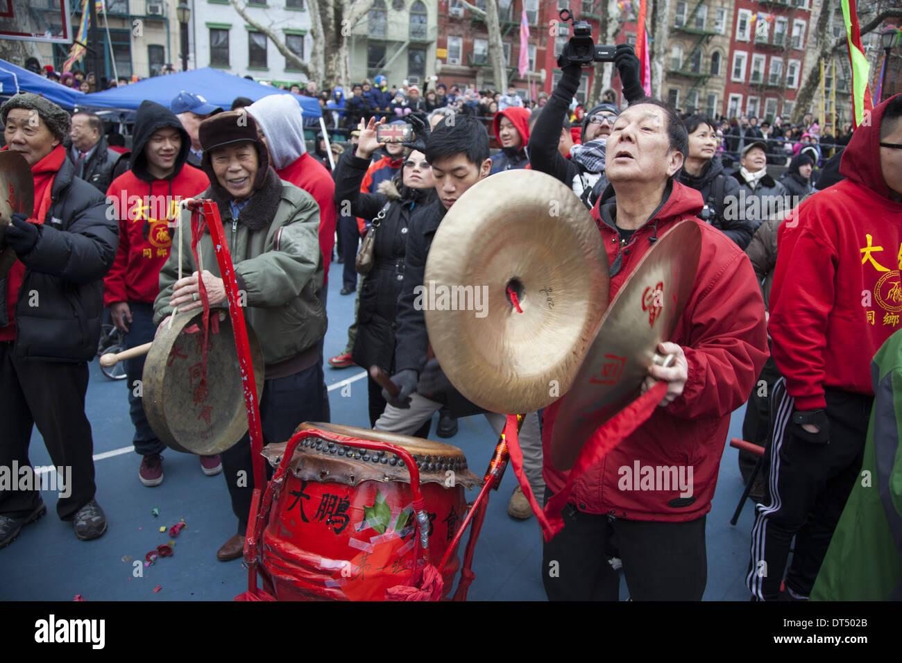 Les célébrations du Nouvel An chinois dans le quartier chinois, la ville de New York. 2014, année du cheval. Photo Stock