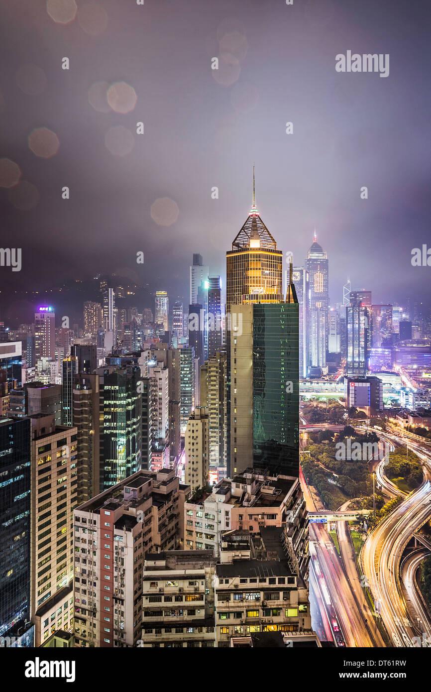 Ville et les routes de nuit, Hong Kong, Chine Photo Stock