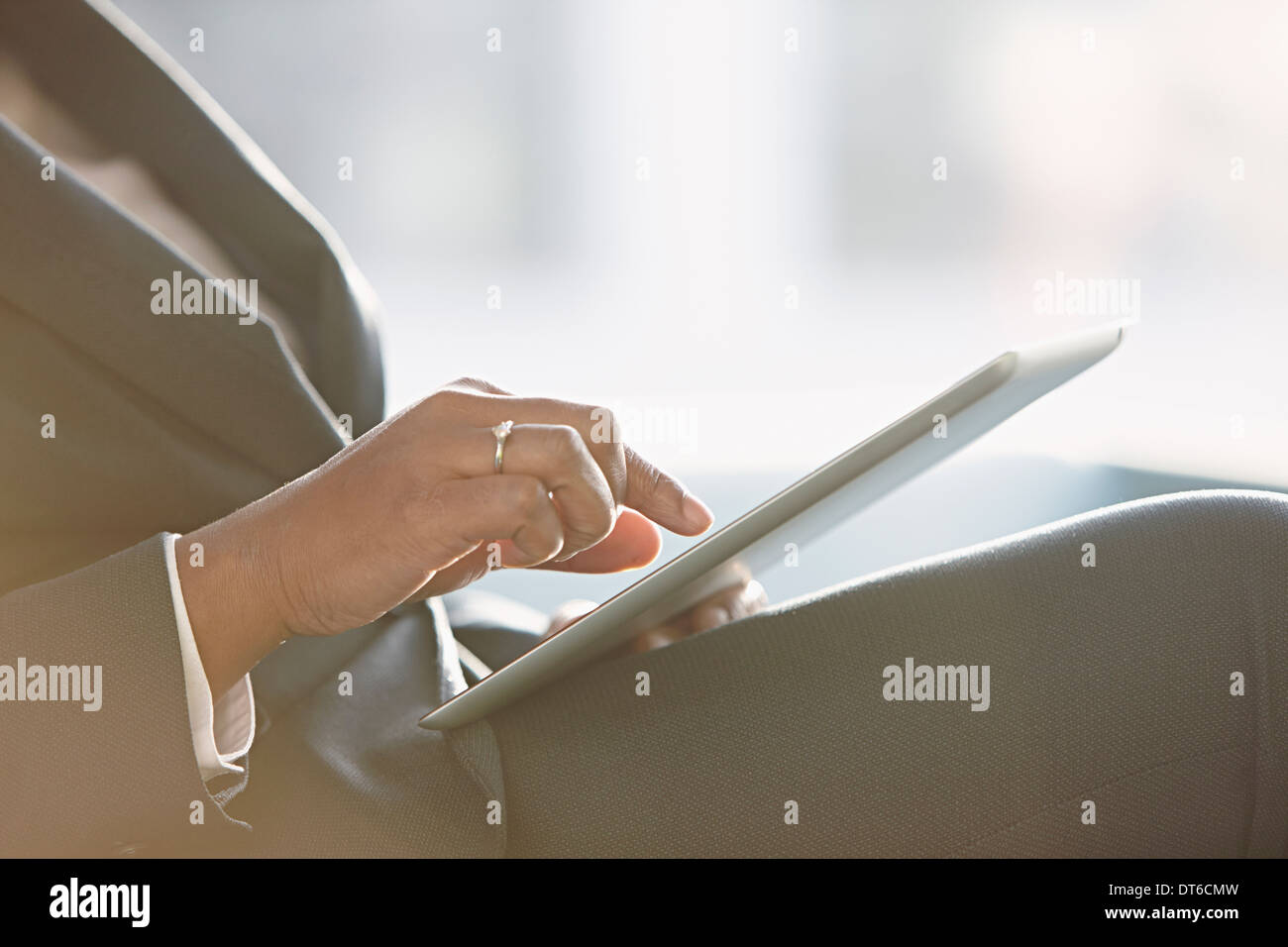 Businesswoman using digital tablet, Close up Photo Stock