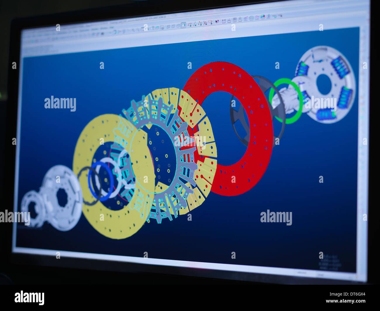 L'embrayage à l'aide de dessins et modèles industriels CAD logiciel sur écran d'ordinateur Photo Stock