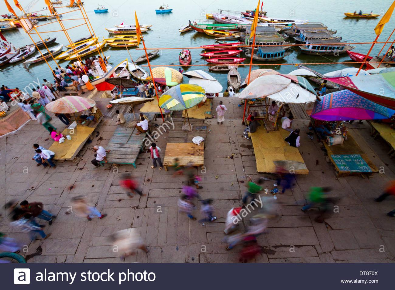 Soir sur le Gange, Varanasi, Inde Photo Stock