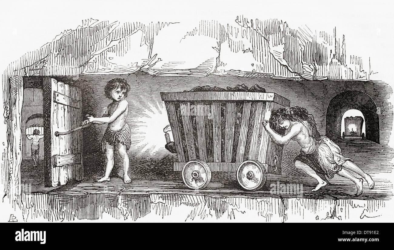 Scène à l'intérieur d'une mine de charbon anglais, au début du xixe siècle. Les enfants qui travaillent. Photo Stock