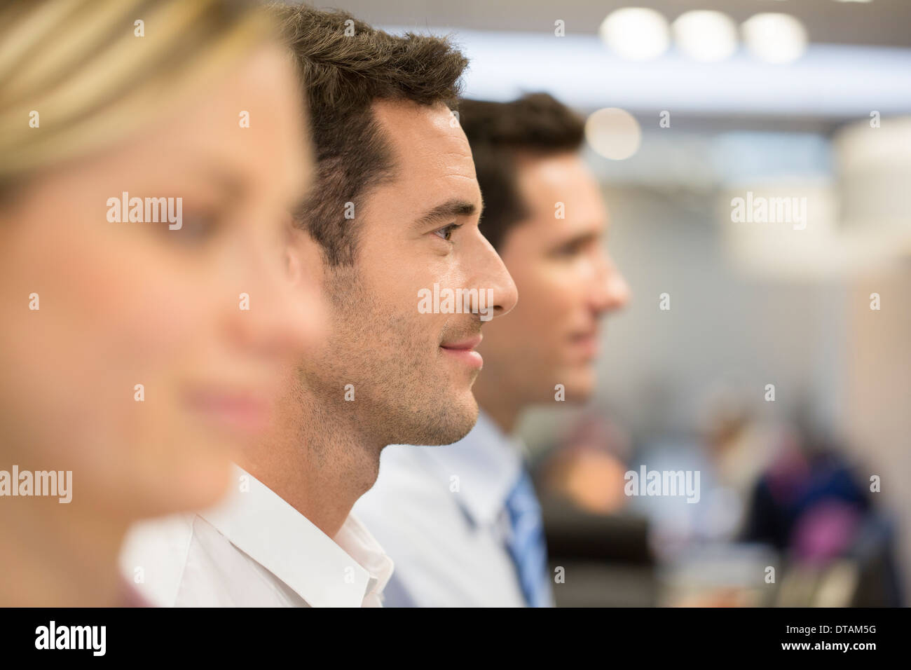 Groupe hommes femme profil office line Photo Stock