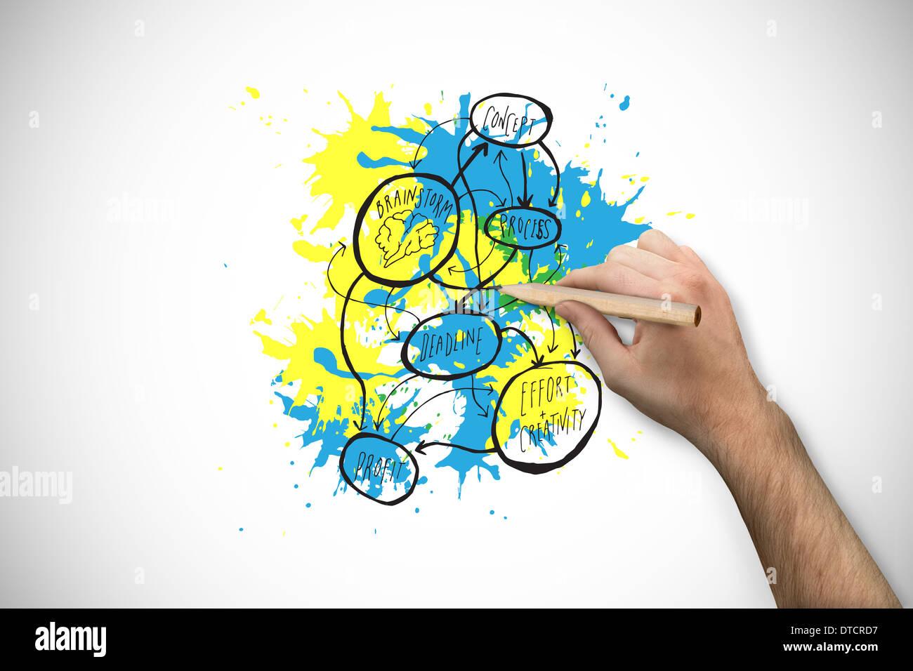 Image composite de main tenant un crayon Photo Stock