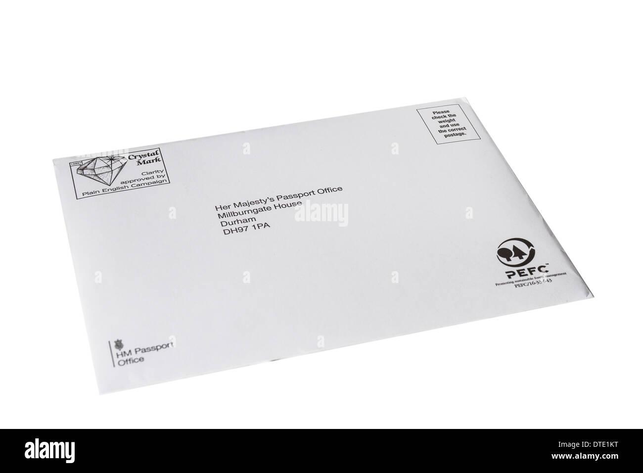 Bureau des passeports enveloppe utilisée pour afficher les