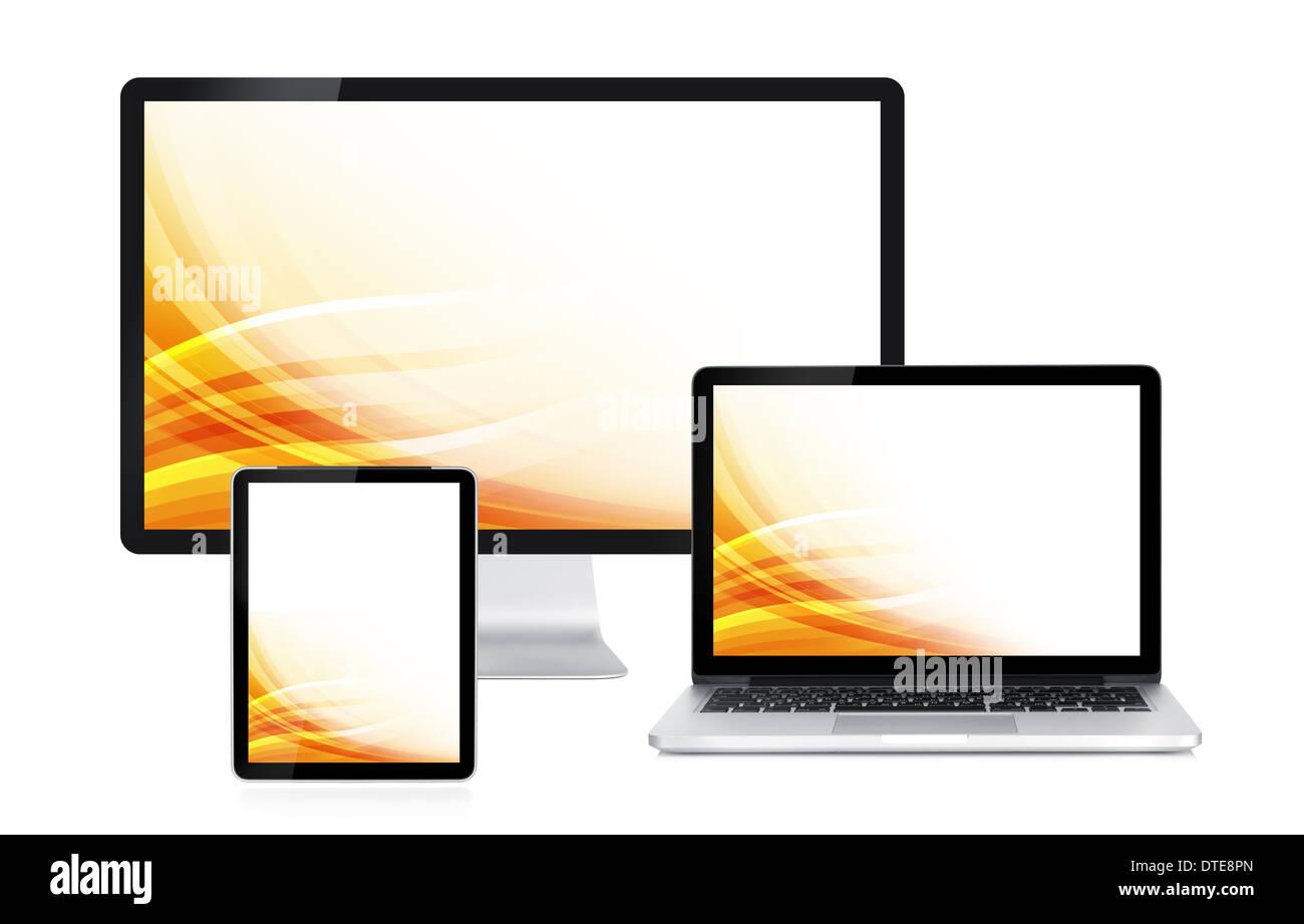L écran de l ordinateur, ordinateur portable et tablette avec papier peint  couleur ee42c79ad3d0
