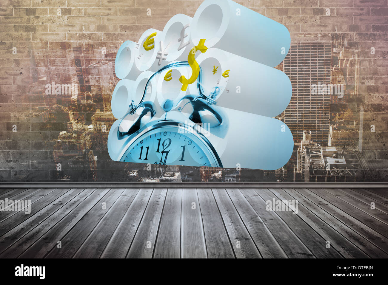 Image composite de time is money concept on abstract screen Photo Stock