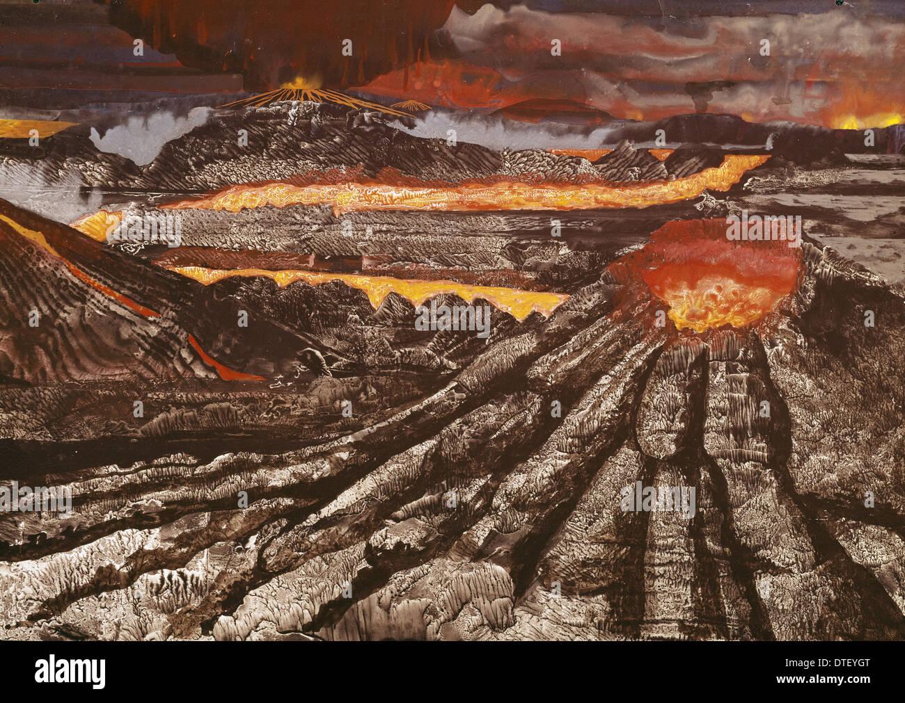 Les volcans sur la Terre primitive Photo Stock
