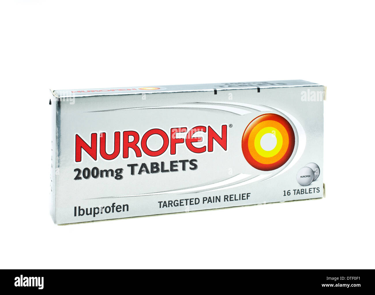 Fort de comprimés nurofen sur fond blanc Photo Stock